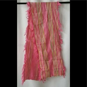 Descours Paris Pink Fringed Scarf Woven Thin